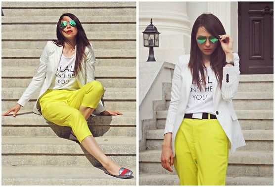 Front Row Shop Peg Trousers, New Yorker T Shirt, Zara Blazer, Ray Ban Mirror Sunglasses