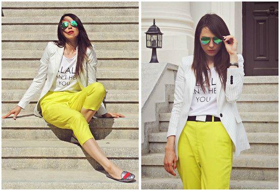 Front Row Shop Peg Trousers, New Yorker T Shirt, Zara Blazer, Ray Ban Mirror Sunglasses