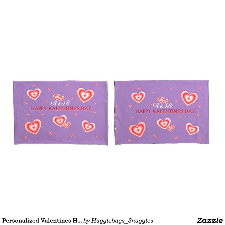 Personalized Valentines Hearts On Mauve Pillow Cases.