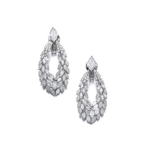 Pair of diamond ear clips, Kern | Lot | Sotheby's
