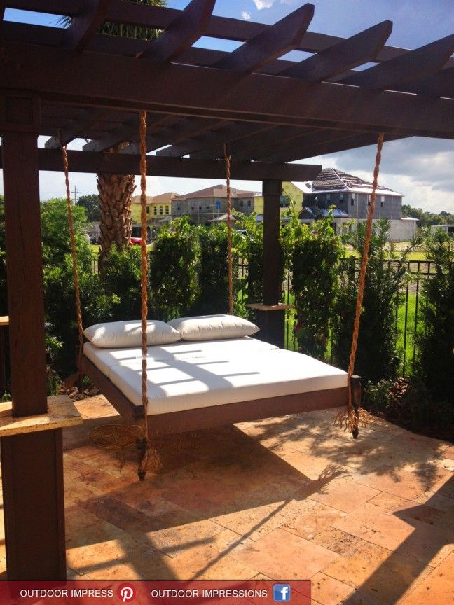 Exterior. Outdoor Hammock Beds Design Ideas. Varnished ...