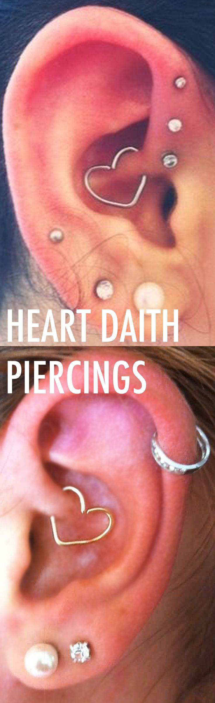 Multiple Ear Piercing Ideas Combinations at MyBodiArt.com - Heart Daith Rook Earring Ring in Gold or Silver - Triple Forward Helix Studs - Silver Cartilage Hoop