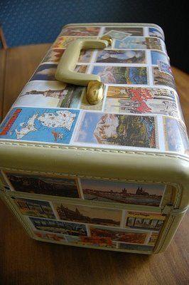 Clever Karen: Postcard Train Case - she scanned her vintage postcards and then mod podged the whole case.