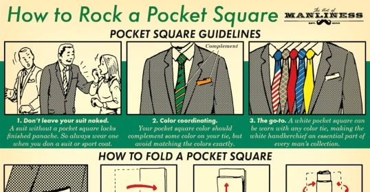 How To Fold A Pocket Square Style Infographics Pinterest Guide And
