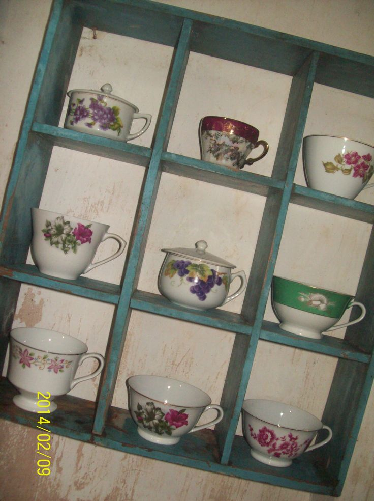 beautiful old rustic teak shelf with old antique cups ..... U may contact these vintage lovers Cahya : 0813.9372.1843 or Ardi : 0812.2284.470 for more information and order Facebook : La Wasan Skype : La Wasan Blog : www.lawasanahouseofvintage.wordpress.com