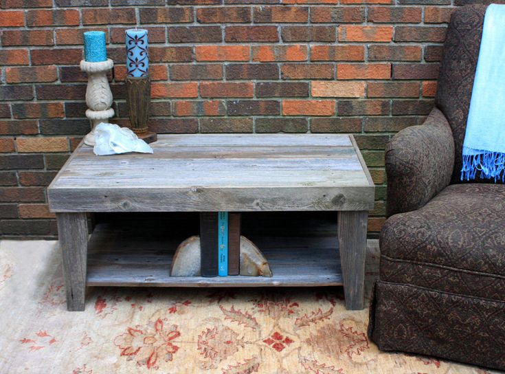 Lovely Rustic Coffee Table With Shelf, Reclaimed Wood, Unfinished   Handmade.