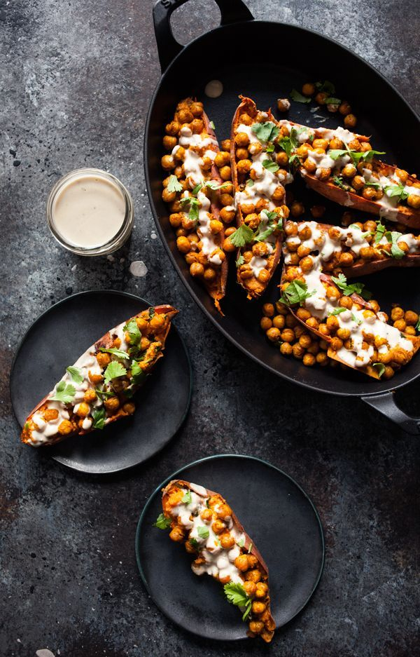 Tandoori Chickpea Stuffed Sweet Potatoes with Tahini Lime Drizzle