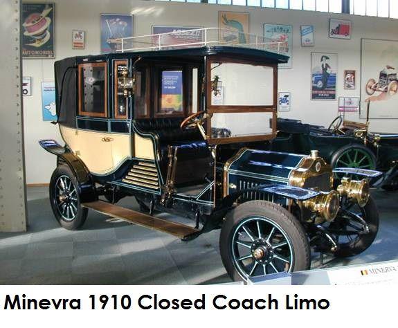 1910 Minerva WT, carrosserie Charles Distang, deze auto behoorde tot het autopark van koning Albert I van Belgie (Autoworld Brussels).