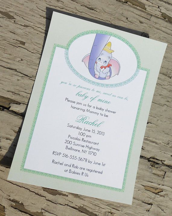 Hey, I found this really awesome Etsy listing at https://www.etsy.com/listing/128818392/disneys-dumbo-baby-shower-invitation