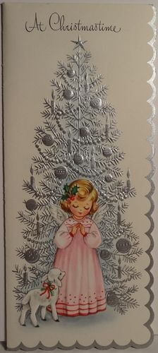 1960s Angel and Lamb by The Silver Tree Vintage Christmas Card