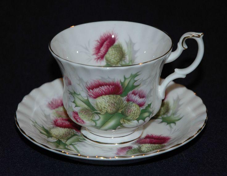 Royal Albert Highland Thistle Cup And Saucer Set Bone