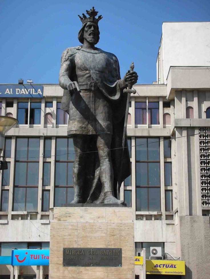 Mircea cel Batran. Dracula's grandfather. Statue in Pitesti, Romania.