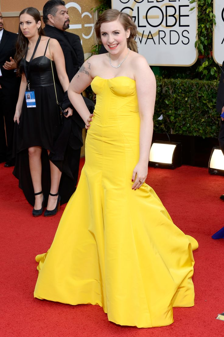 Lena Dunham in Zac Posen at GG 2014 - ELLE.com