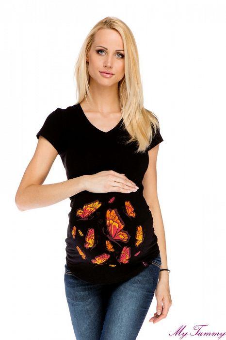 """Těhotenské tričko """"Motýlci"""" černé - My Tummy - Luxusní, elegantní a praktické oblečení pro těhotné a kojící ženy"""