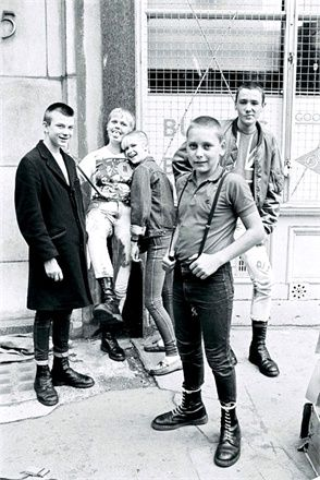 A group of skinheads rocking Dr.Martens during the 1980's. London, England.