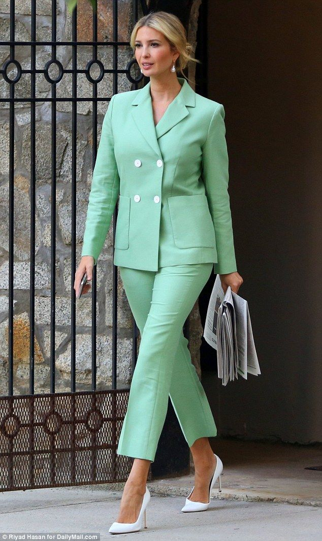 611caf2b0ae9a Commute: Ivanka Trump smiled confidently as she left her house for work on  Wednesday morning in a pastel green pantsuit and white pointed-toe pumps