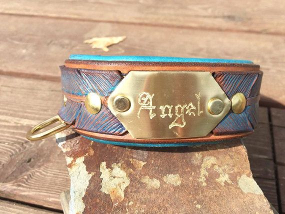 Personalized Hand Tooled Leather Dog Collar Lined by FinelyTooled
