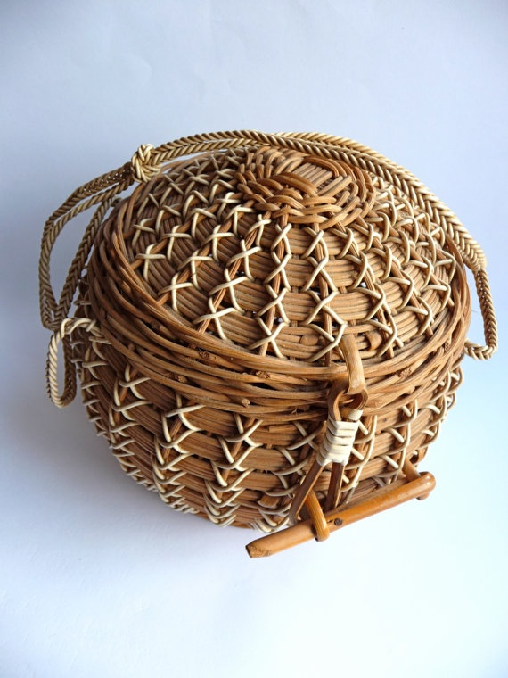 Vintage basket  unique wicker purse 50s' by TickleAndFinch on Etsy, $50.00