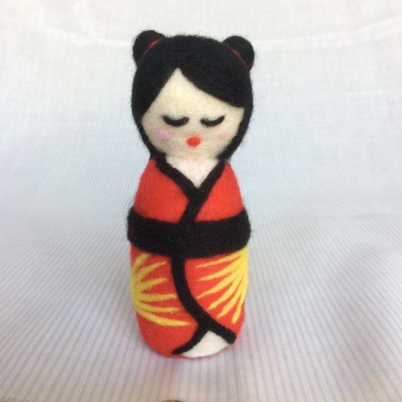 Handmade needle felted japanese style kokeshi doll by SweetPeaDolls.
