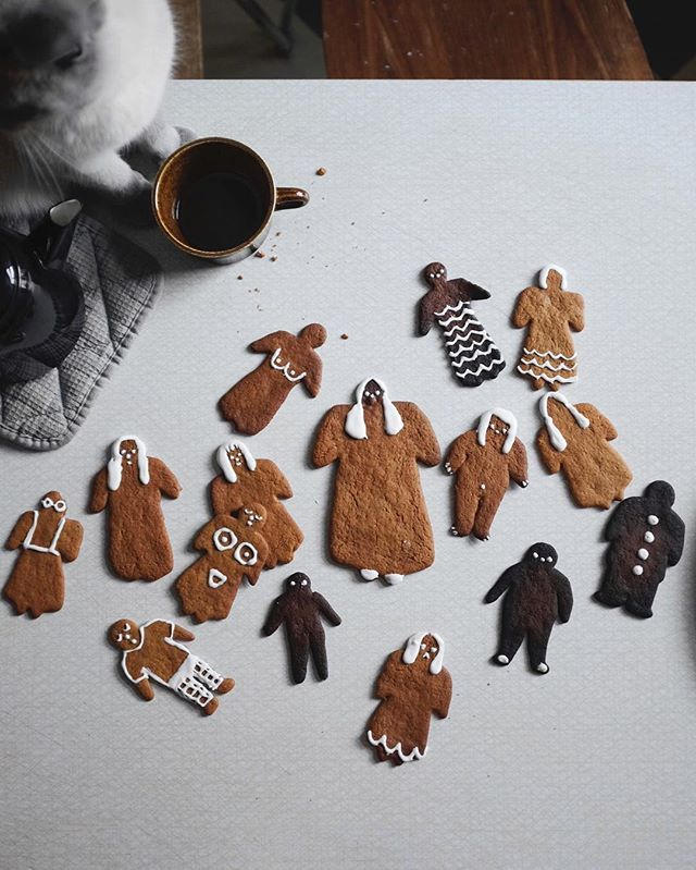 Folks gingerbread feast in the kitchen, so cute!