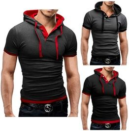 Mens Black/Gray/Light Gray Hooded Short Sleeve Casual T Shirt