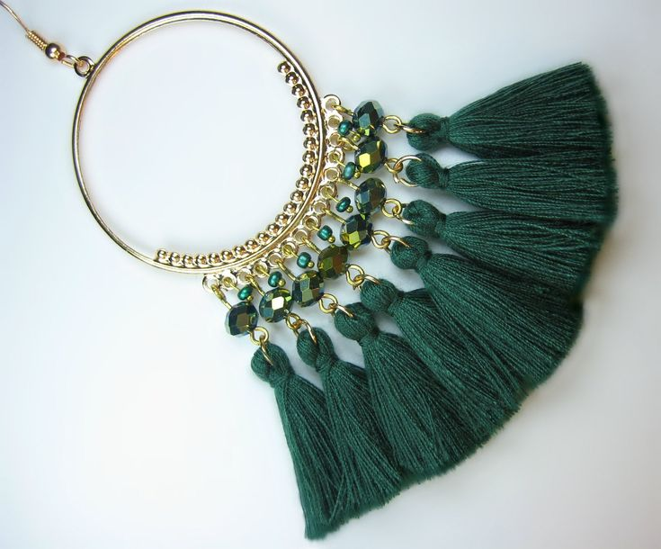 Large Shimmering Moss Gold Crystal and Glass Pearl Emerald Green Tassel Gold Hoop Earrings  #BBUK #Jewellery #jewelry #Handmade #Etsy #gifts #crystal #swarovski #boho #Vogue #sale #discount #chokers #necklaces #bracelets #accessories #gemstones #birthstones #bookmarks #tasselearrings #FashionWeek #MothersDay #ValentinesDay