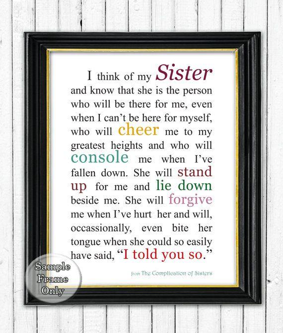 Sister print Gift for Sister Sister by KatherineMariacaArt