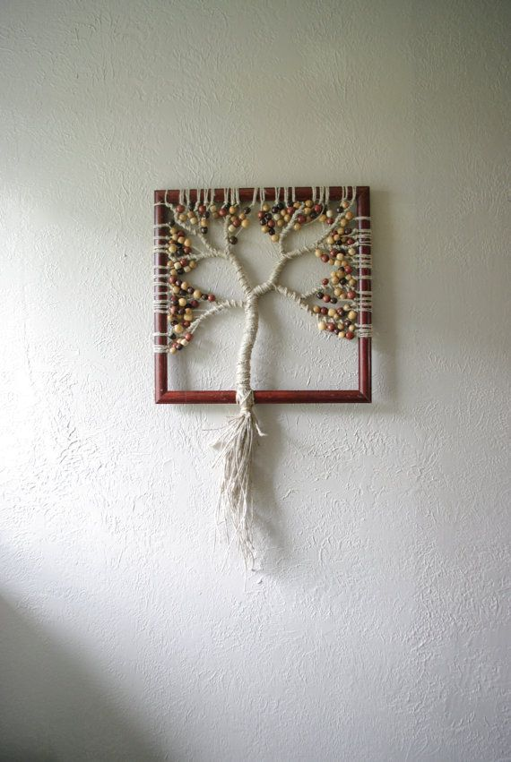 Modern Macrame Tree Wall Hanging Wooden Leaves by jnmTHREADS