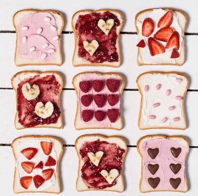 Fruits and Jams and Chocolates on Cream Cheese Toast