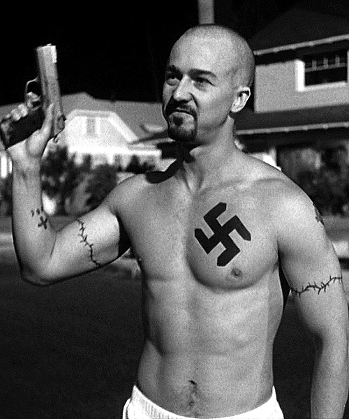 "Norton in ""American History X"". I think he was STEAMIN' in this movie!!!!!!!"