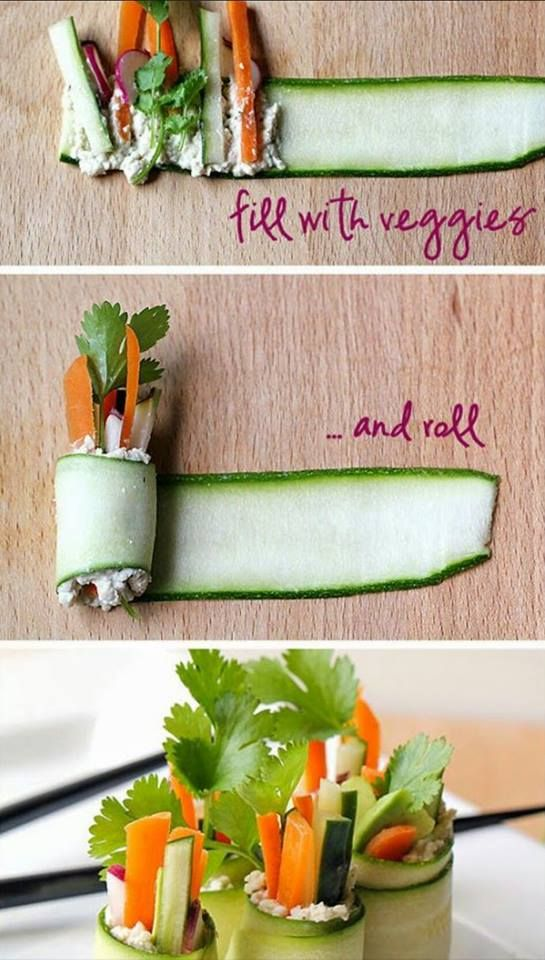 zucchini rolls - just fill with veggies and roll - from sexy raw food and fitness