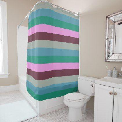 Green, Pink, Blue Stripes Shower Curtain