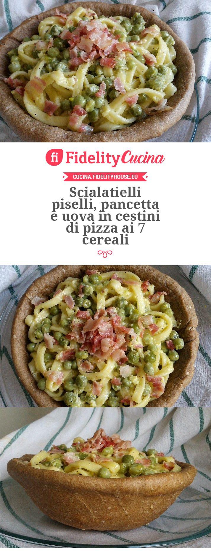 Scialatielli piselli, pancetta e uova in cestini di pizza ai 7 cereali