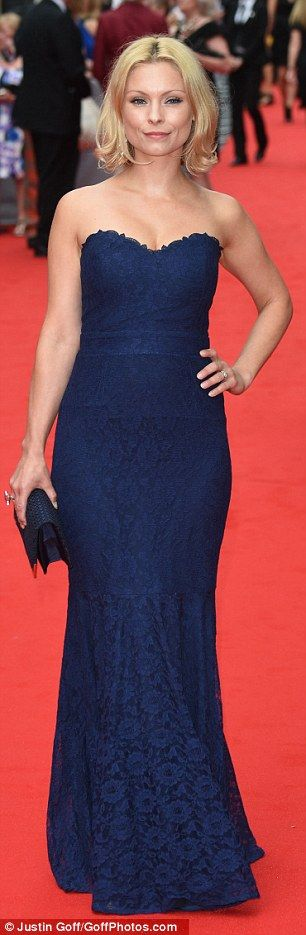 Familar face: Actress MyAnna Buring, who played a housemaid called Edna Braithwaite in Series 4, looked lovely in a strapless navy column gown