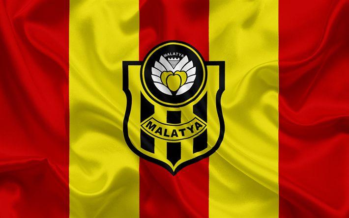 Descargar fondos de pantalla Yeni Malatyaspor, turco, club de fútbol, Malatyaspor emblema, logotipo, rojo amarillo bandera de seda, Malatya, Turquía, turco Campeonato de Fútbol