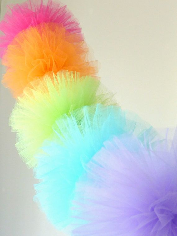 SUPER Tulle Pom Party Garland - 8 POMS - pom poms, tulle, shabby chic, birthday party, wedding decor
