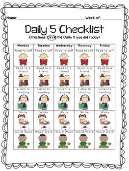 Enjoy this Daily 5 Checklist.  Perfect for making students accountable for their own work and D5 choices throughout the week.  Easy visual representations for early learners :)    THREE different variations to choose from!