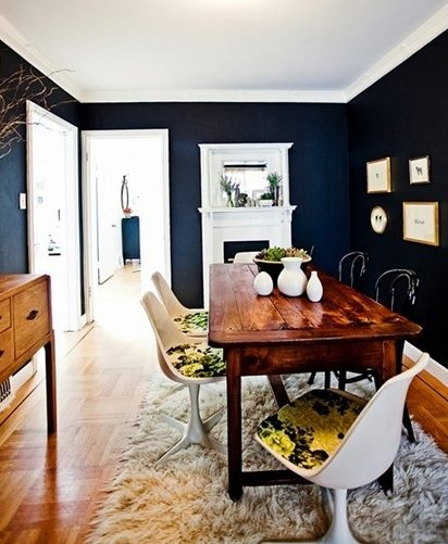 Very dark navy looking great with natural wood