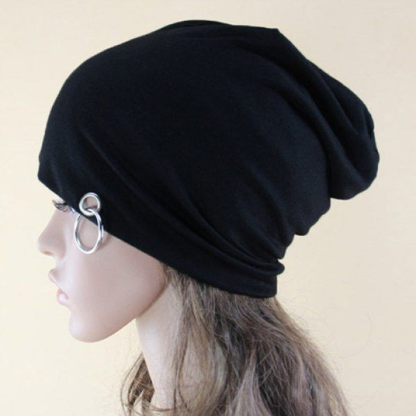 $4.61 Chic Iron Ring Embellished Solid Color Beanie For Women