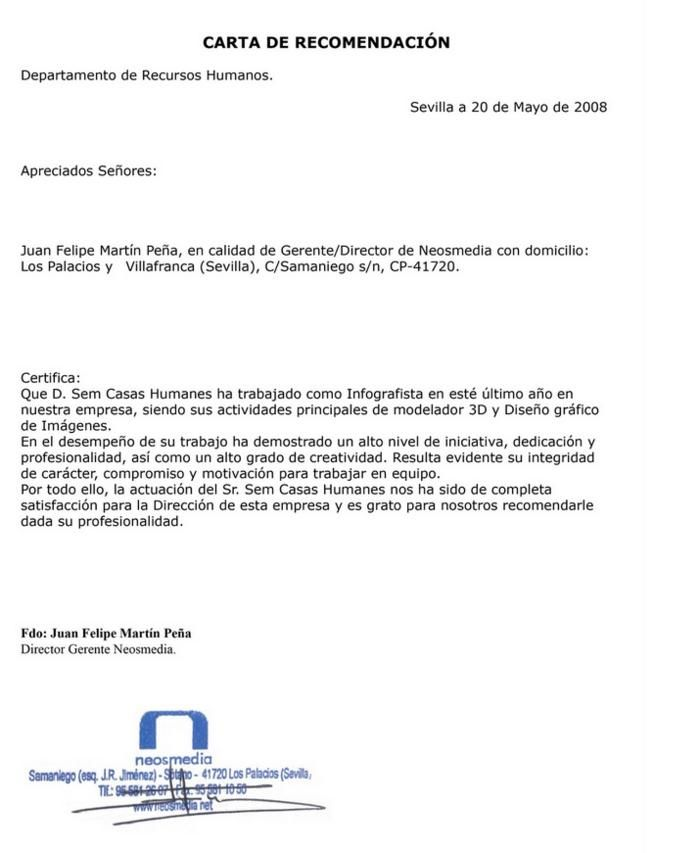 MODELO DE CARTA DE RECOMENDACION LABORAL