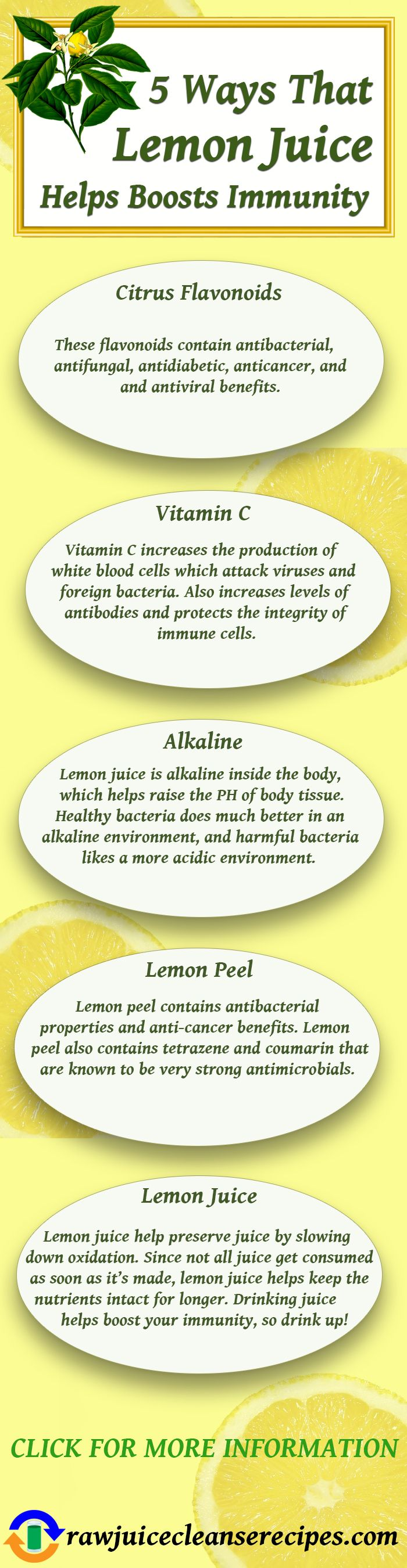 5 Ways That Lemon Juice Helps Boost Immunity! Stay well, and get more info as well as try some of the juice recipes that include lemon juice in them on the page.