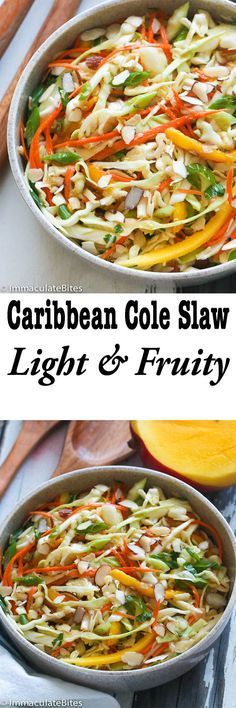 Caribbean Cole Slaw-A Mayo-Free No Mayo Caribbean Coleslaw – Light, Fruity ,Sweet and Refreshingly Good! Makes the perfect no-cook side dish. Add your favorite protein and make it a meal!