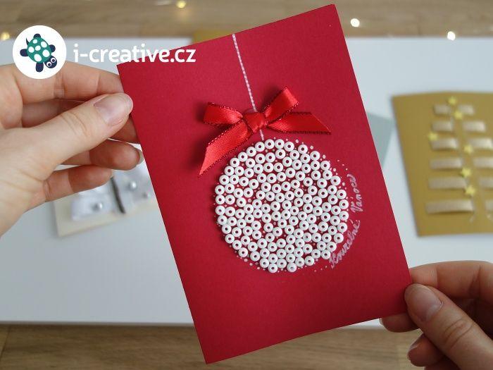 vánoční přání s baňkou - výroba