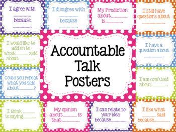 16 Polka Dot Accountable Talk Posters.