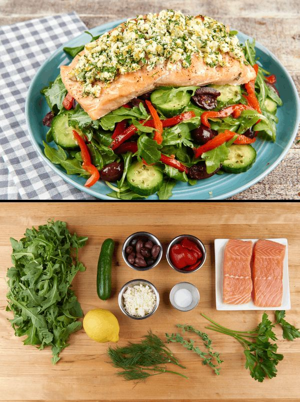 Salty feta and fresh herbs give salmon a flavor boost that takes it to a whole new level of awesomeness. Crisp, classic, and crunchy Greek salad completes the experience.