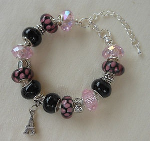 Black & Pink European Charm Bracelet, Murano Beads - SO PRETTY! -- Fun and…