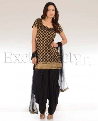 #Exclusivelyin, #IndianEthnicWear, #IndianWear, #Fashion, Black & Gold Patiala Suit
