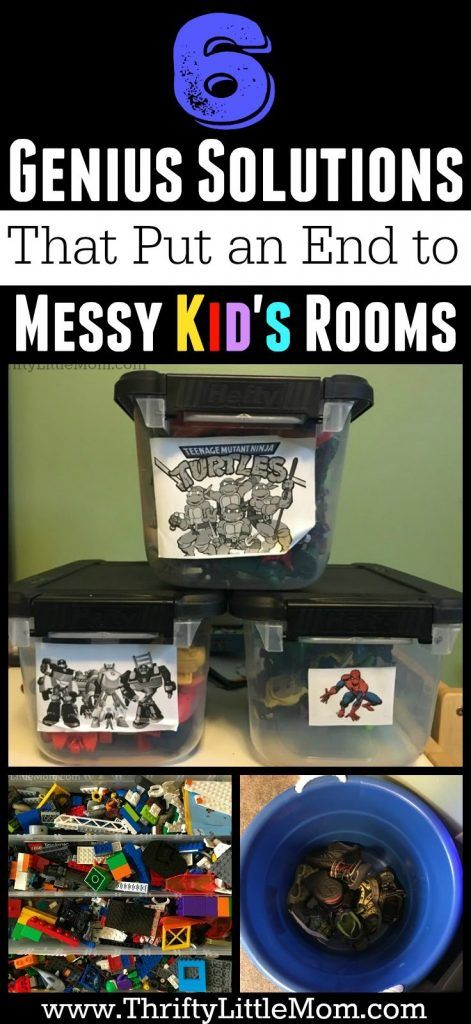6 Genius Solutions that put an end to messy kid's rooms! I picked up a bunch of new ideas I'm gonna try in my kids room this weekend.  #4 is my favorite.