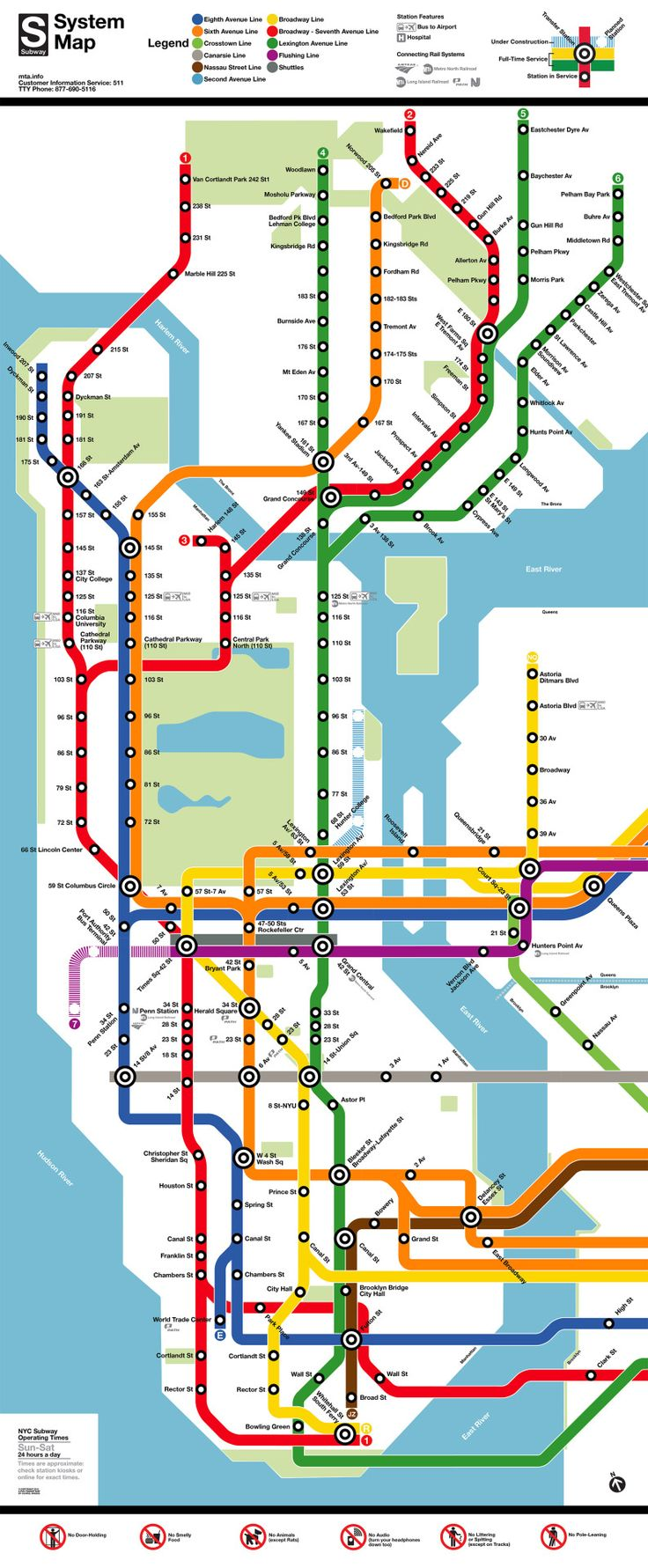 Bold lines don't work for complicated systems Fantasy Map: New York Subway Map in the Style of Washington DC's Metro Map by Chris Whong