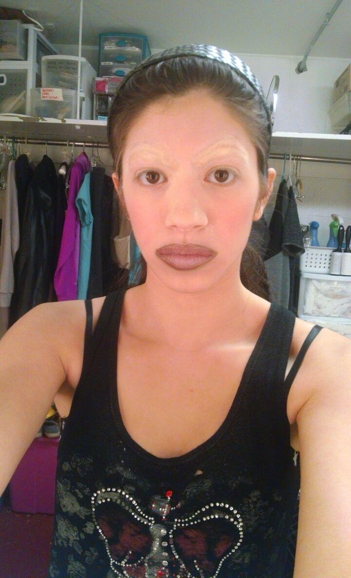 Second Attempt at Erasing Eyebrow: Splayed my hair upwards ...